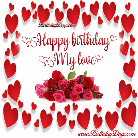Happy birthday my love with a rose